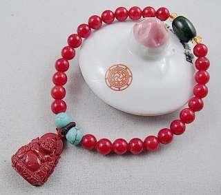 6mm red coral Buddha pendant Tibet Buddhism Bracelet