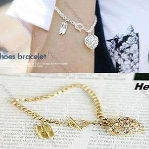 Korean Fashion Exquisite Rhinestone Love Heart Ballet Shoes Bracelet