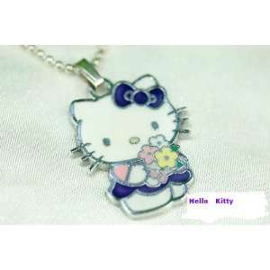 Hello Kitty In Violet Dress Holding Flowers Charm Necklace