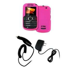 EMPIRE Hot Pink Rubberized Hard Case Cover + Car Charger