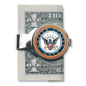 SILVER TONED MONEYCLIP W/COLORIZED NAVY JFK