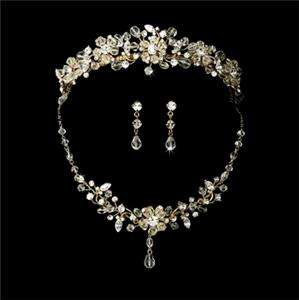 Gold Swarovski Crystal Bridal Necklace Earring & Tiara Set New