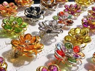 NEW jewelry lots mix fashion silver P womens flower ring 50pcs Free