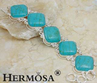 Unique Natural Turquoise Elegance Shiny 925 Sterling Silver Bracelet 8