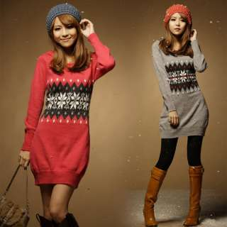 New Korean Women Flower Hoodie Knit Dress Top 0756