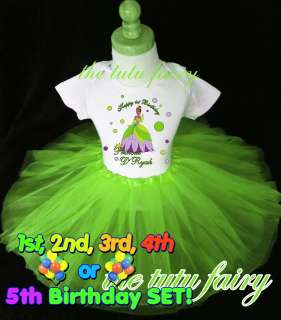 Princess and the frog Birthday girl shirt & tutu set outfit t name age