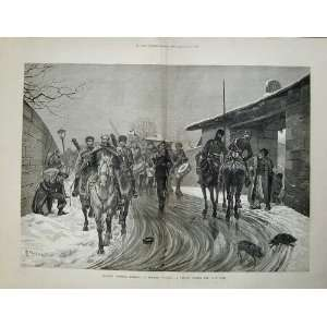 Russian Soldiers Turkish Village War 1878 Horses Art