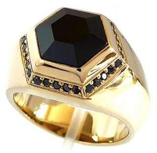 HEXAGON BIG BLACK ONYX GOLD BRASS BRONZE RING Sz 10 SIMPLY ELEGANT