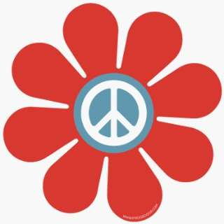 Fridgedoor Rust & Blue Peace Sign Flower Power Car Magnet