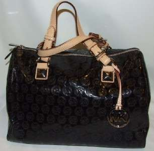 Michael Kors Grayson Large Jet Set Monogrammed Black Satchel Bag Purse