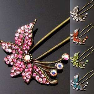 Item  1pc rhinestone crystal Antiqued flower hair fork