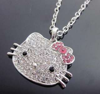 cute Hello Kitty pink red black bow crystal pendant chain necklace