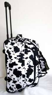 Tote Bag Rolling Luggage Case Wheel Purse Black/White Cow Print