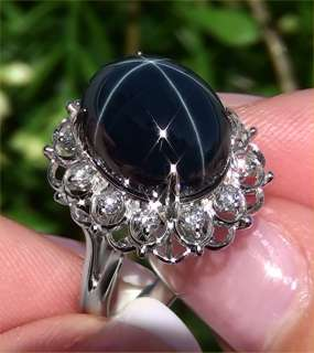 Estate Vintage 18.49 ct Natural Blue Star Sapphire Diamond Ring 14k