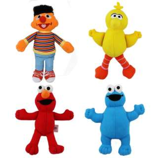 4x Sesame Street Big Bird ERNIE ELMO MONSTER Plush Toy