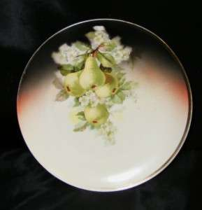 Vintage Old Three Crown China Germany Pear 8 Decorative Plate w/ Gold