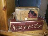 PRIMITIVE BLOCK SIGN~~HOME SWEET HOME~~WILLOW TREE~~