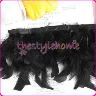 Black Turkey Feather Fringe Trim 1.83m   Craft Costume