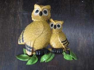 Vintage Retro Mid Century Modern Homco Dart Owl Family Wall Art Eames