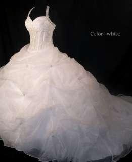 empire line halter beads white/ivory wedding bridal dress gown