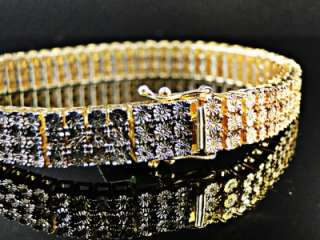 MENS 3 ROW YELLOW GOLD FINISH WITH BLACK WHITE AND YELLOW DIAMOND