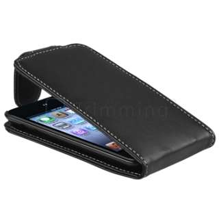 For iPod Touch 4 4G 4th 4Gen Black New Flip Top PU Leather Case Cover
