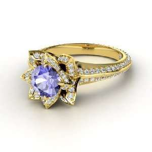 Pave Lotus Ring, Round Tanzanite 14K Yellow Gold Ring with