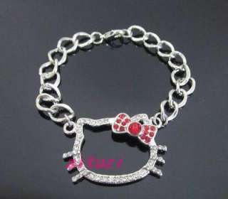 Lovely Hello Kitty red Bow Pendant Bracelet Gift Z26 best gift