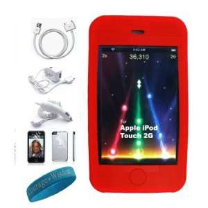 6 in 1 itouch kit with Red Silicone skin cover for Apple