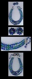 LAGUNA VINTAGE TRIPLE STRAND GREEN & BLUE CRYSTAL NECKLACE & EARRINGS
