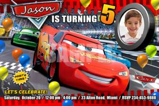 CARS DISNEY MCQUEEN BIRTHDAY PARTY INVITATION CUSTOM 2