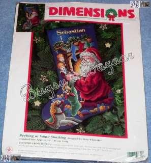 Dimensions PEEKING AT SANTA Counted Cross Stitch Christmas Stocking