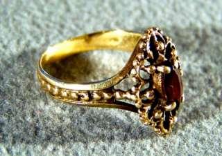 ANTIQUE 10 K GOLD BIG OVAL GARNET FANCY FILIGREE RING 8