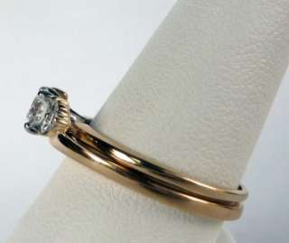 14k YELLOW GOLD DIAMOND WEDDING BAND RING GUARD WRAP INSERT JACKET~NEW