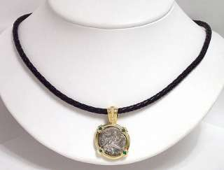 18k GOLD SILVER DIAMONDS COIN PENDANT LEATHER NECKLACE