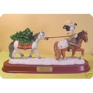 Enesco Marys Moo Moos Cow With Horses, Trees and Base