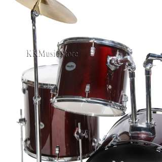 NEW 5 PIECE DRUM SET+CYMBAL+STOOL~BLUE~BLACK~RED~SILVER