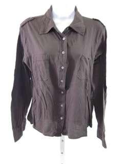 TORY BURCH Brown Button Down Long Sleeve Top Shirt Sz L