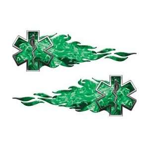 Star of Life Flame Decals Inferno Green   14 h x 50 w
