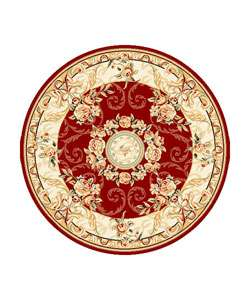 Collection Aubussons Red/ Ivory Rug (8 ft. Round)