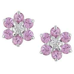 10k Gold Pink Sapphire and Diamond Flower Earrings