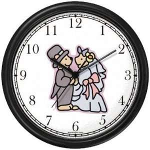 Wedding Couple Teddy Bears   Bear Animal Wall Clock by