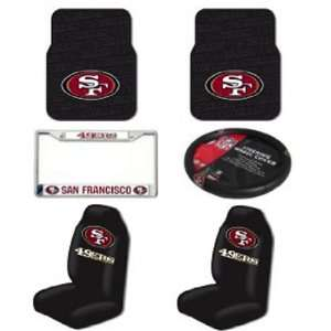 NFL San Francisco 49ers 6 PC Auto Accessories Combo Kit   Rubber Floor