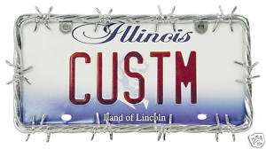 CHROME BARBED WIRE LICENSE PLATE FRAME CAR OR TRUCK