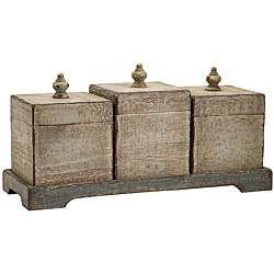 Americana Farmhouse 4 piece Wooden Canister and Tray Set