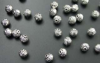 240 Tibetan Silver Bali Style Floral Beads Spacers 7mm