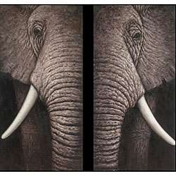Hand painted Elephant Gallery wrapped Oil Paintings (Set of 2)