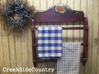 Primitive Grungy Wood Towel Linen Bar Rack   R