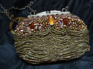 Mary Frances Amber Gold beaded jeweled handbag evening bag Retired