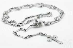 Bone Cross Biker Rocker Rock Necklace Rosary Jewelry Style